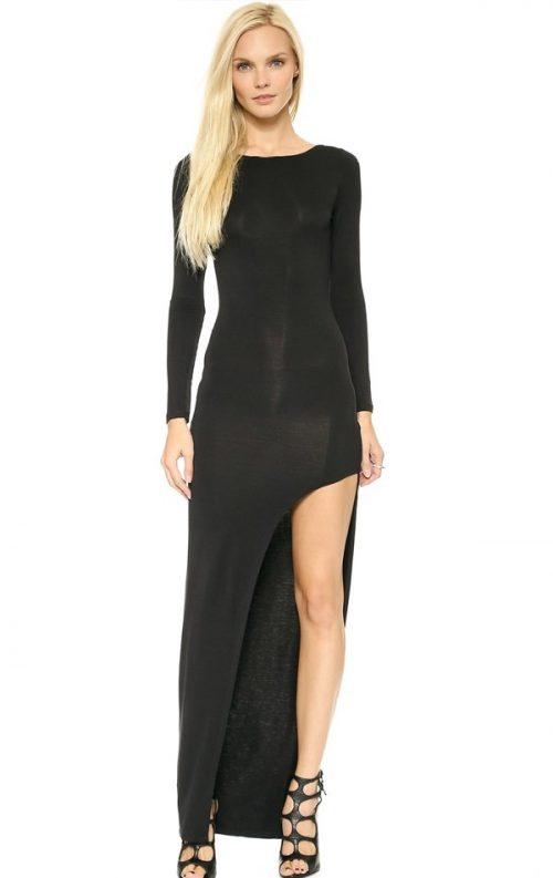 Yırtmaçlı Uzun Kol Elbise