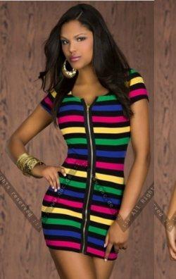 Fermuarlı çizgi desen mini elbise