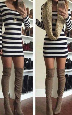 Uzun kol çizgili mini elbise