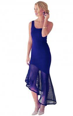 Asimetriik Kesim Tül Detaylı Elbise