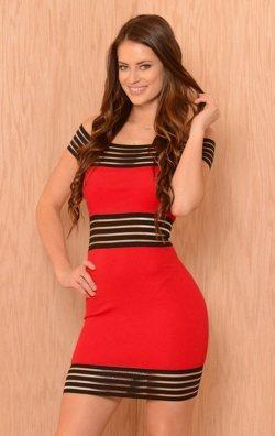 Şerit Tasarım Mini Elbise