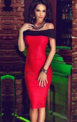 Dalgıç kumaş straplez dizaltı elbise