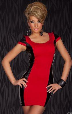 Deri Detay Mini Elbise