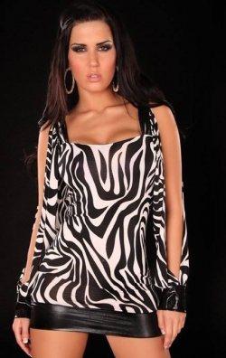 Kolları Açık Zebra Elbise
