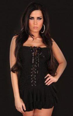 Önden Bağlamalı Siyah Fırfırlı Elbise