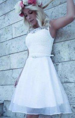 Beyaz Tasarım Dantel Elbise