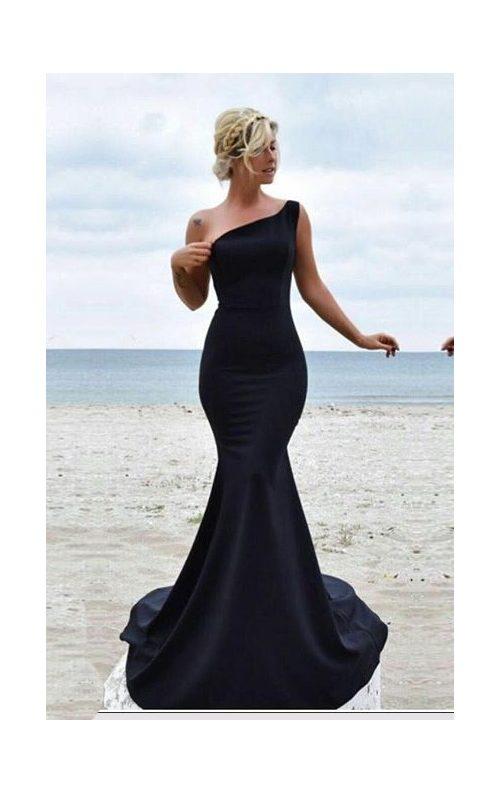 Tek Omuz Siyah Balık Elbise