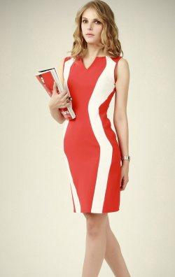 Garnili Kırmızı Ofis Kıyafeti