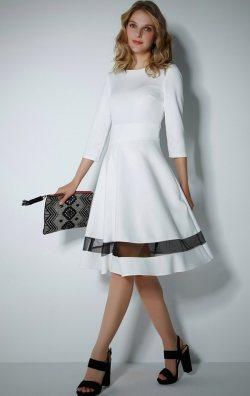 Beyaz Tül Etekli Kloş Elbise