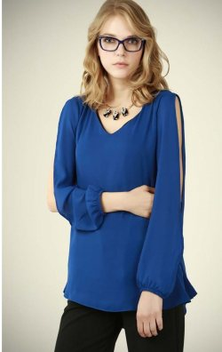 Yırtmaç Kol Mavi Bluz