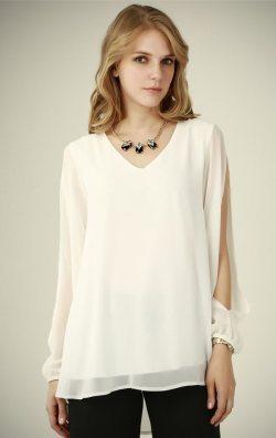 Yırtmaç Kol Beyaz Bluz