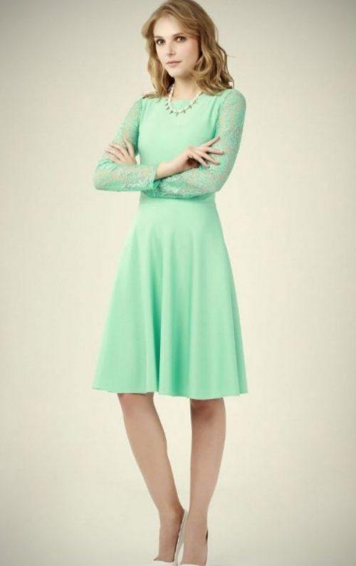 Su Yeşili Dantel Detay Kloş Elbise