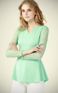 Kolları Dantel Yeşil Bluz