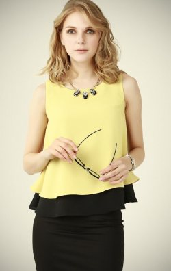 Sarı Kolsuz Bluz