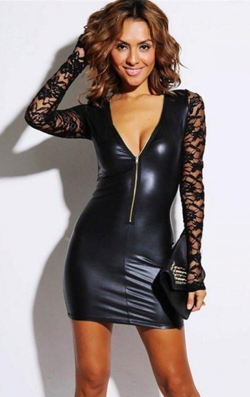 Kolları Dantel Deri Mini Elbise