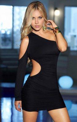 Tek Omuz Dekolteli Mini Elbise