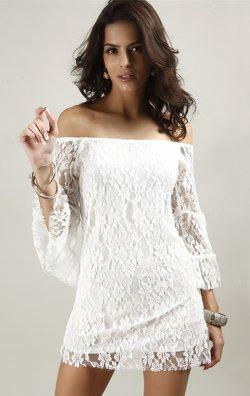 Likralı Beyaz Dantel Elbise