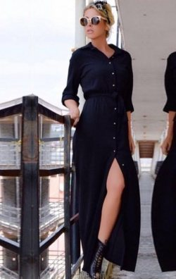 Gömlek Model Uzun Elbise