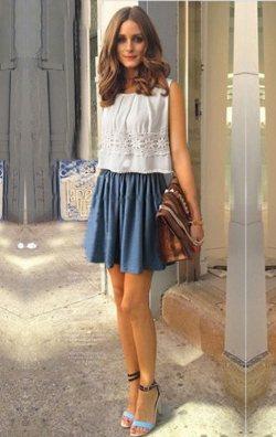 Mavi beyaz alt üst ikili elbise