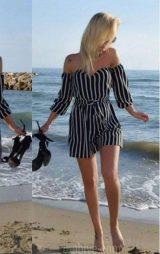 Siyah Beyaz Kısa Şortlu Tulum Elbise