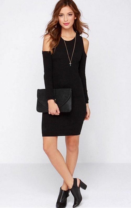 Omuzu Açık Mini Elbise