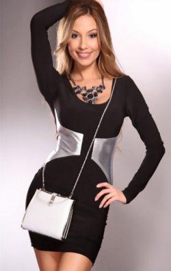 Yaldızlı Mini Elbise