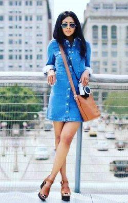 Önden Çıtçıtlı Kot Elbise