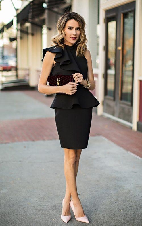 Fırfırlı Siyah Elbise