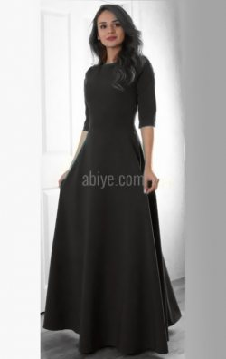 Siyah Şık Uzun Elbise