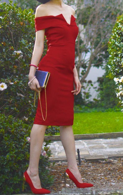 Düşük Omuz Bodycon Elbise