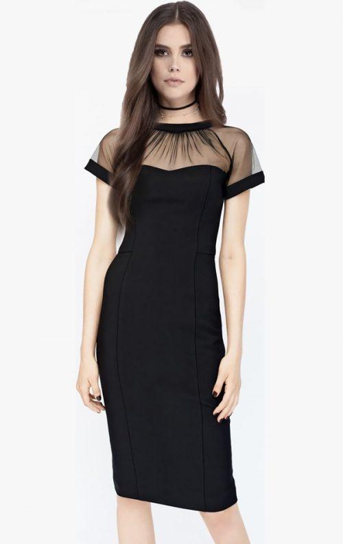 Tül Detay Kalem Elbise