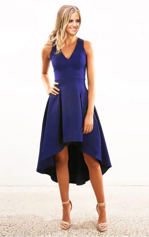 V yaka kolsuz asimetrik elbise
