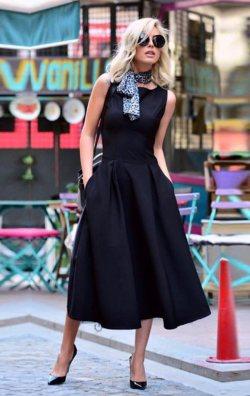 Siyah Sıfır Kol Cepli Midi Abiye Elbise
