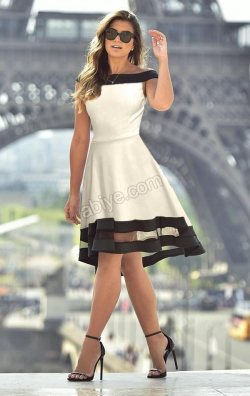 Kloş Etekli Tül Detay Şeritli Elbise