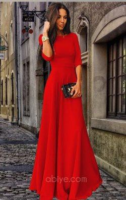 Kırmızı Fakir Kol Uzun Elbise