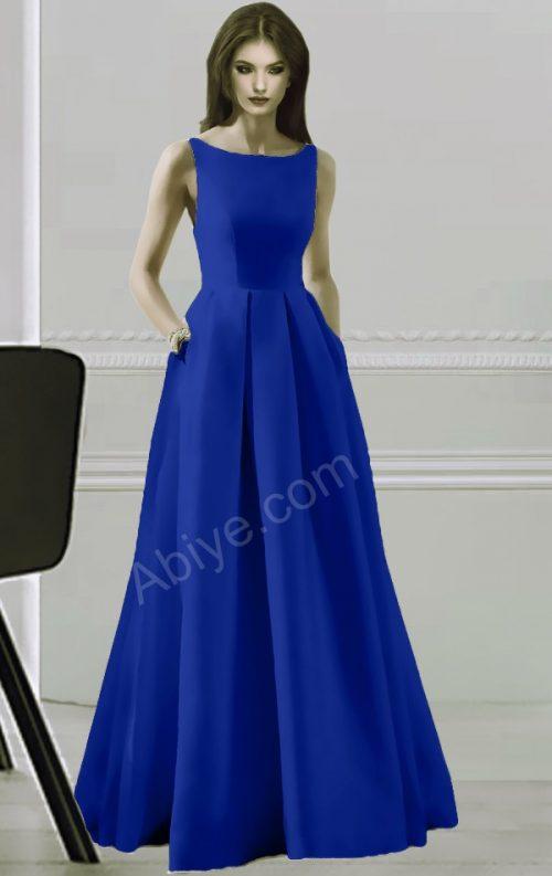 Saks Mavi Elegant Elbise