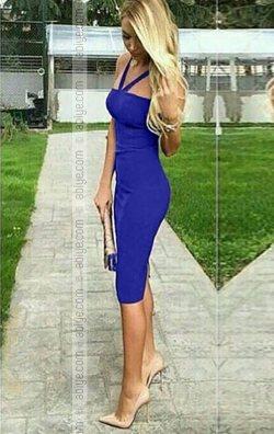 Saks Mavi Şık Elbise