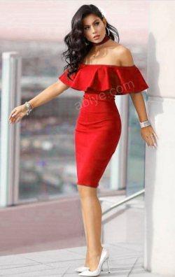 Kırmızı Volanlı Kalem Elbise