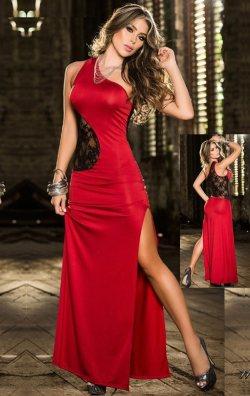 Kırmızı Dantel Detaylı Uzun Club Elbise