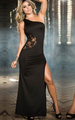 Siyah Dantel Detaylı Uzun Club Elbise