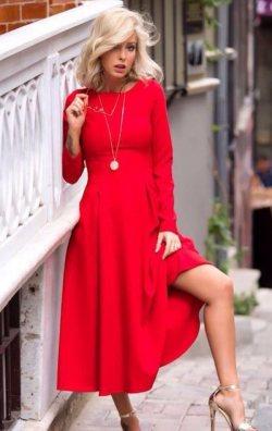 Uzun Kol Midi Boy Kırmızı Elbise