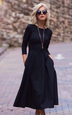Uzun Kol Midi Boy Siyah Elbise