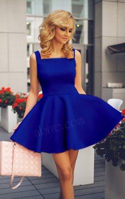 Kayık Yaka Kolsuz Saks Mavi Kloş Mini Elbise