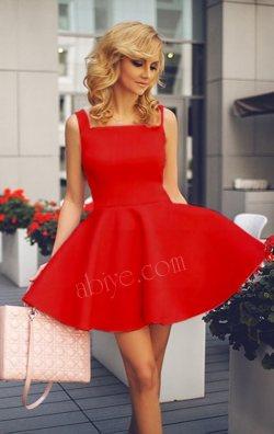 Kayık Yaka Kolsuz Kırmızı Kloş Mini Elbise