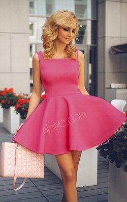 Kayık Yaka Kolsuz Gül Kurusu Kloş Mini Elbise