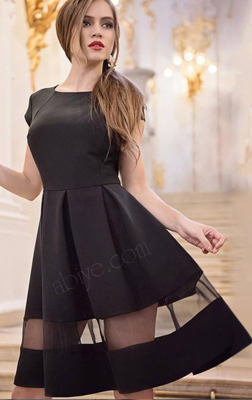 Tül Detay Kloş Etekli Siyah Elbise