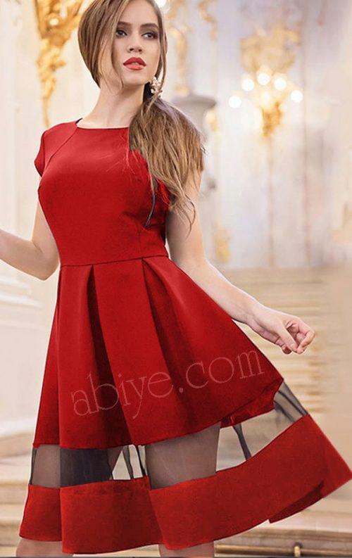 Tül Detay Kloş Etekli Kırmızı Elbise