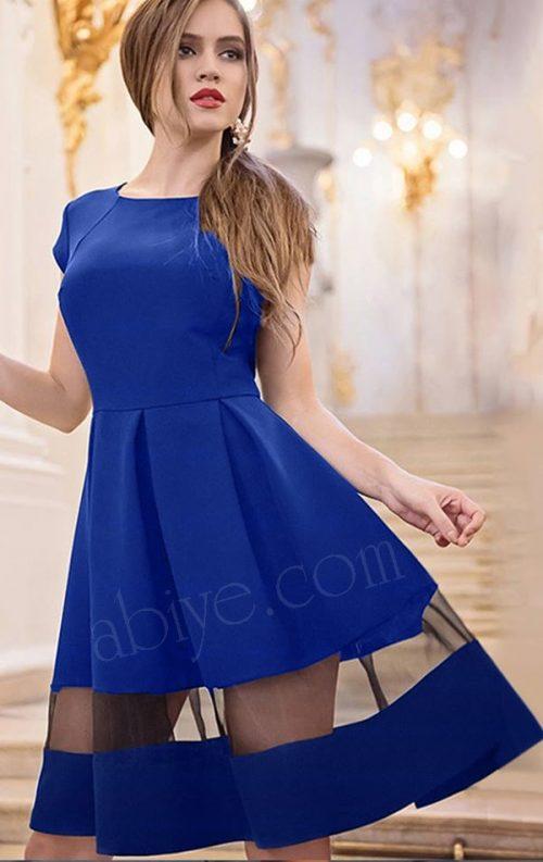 Tül Detay Kloş Etekli Saks Mavi Elbise
