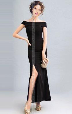 Siyah Yırtmaçlı Uzun Gece Elbisesi