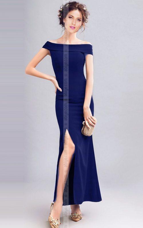 Saks Mavi Yırtmaçlı Uzun Gece Elbisesi